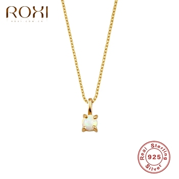 ROXI 925 Sterling Silver Opal Gemstones Women Pendant Necklace Classic Round Clavicle Necklaces Fine Jewelry Chain Collares roxi minimalist small round pendant necklace women 925 sterling silver necklace geometric karma circle necklace choker collares