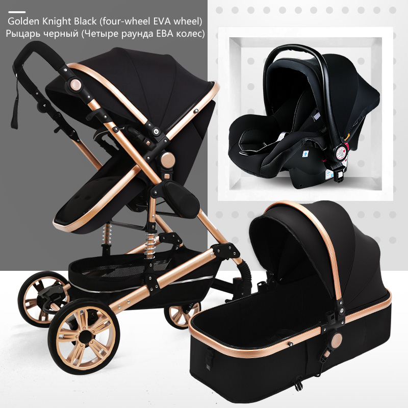 Free Ship Aluminium Multi-functional 3 In 1 Baby Stroller High Landscape Stroller Two Way Child Pram Newborn Carriage Free Gift