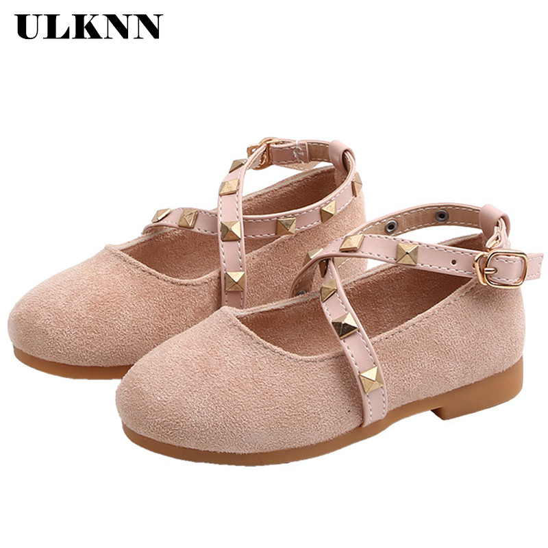 ULKNN New Child Rivet Baby Girl Kids Dress Party Toddler Shoes For Little Kids Princess Leather Shoes 1 2 3 4 5 6 Years