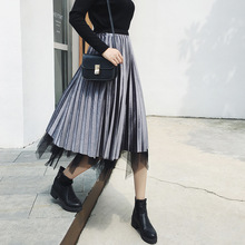 high waist velvet mesh saia skirt womens Autumn Winter Plus Size vintage faldas long Streetwear Harajuku pleated skirts