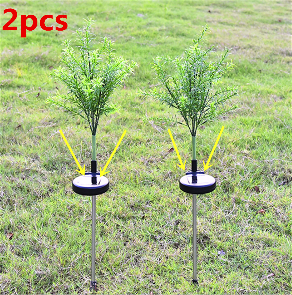 Newest 2pcs/lot 15LED Solar Lights Simulation Christmas Tree Lights Outdoor Waterproof Garden Light Holiday Decoration Yard Lawn