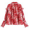 2021 Spring Red Vintage Print Blouses Flare Long Sleeve Chic Pearl Single Breasted Shirts HongKong Style Cardigan Loose Ins Tops 2