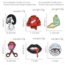 Joyería para mujer... de broches para la cara de broches esmaltados Vintage para mujer de labios y boca insignias de solapa de... de broches