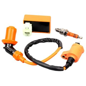 цена на OLOMM Motorcycle ATV Racing CDI + Ignition Coil + Spark Plug For GY6 50cc 125cc 150cc  Racing Ignition Coil