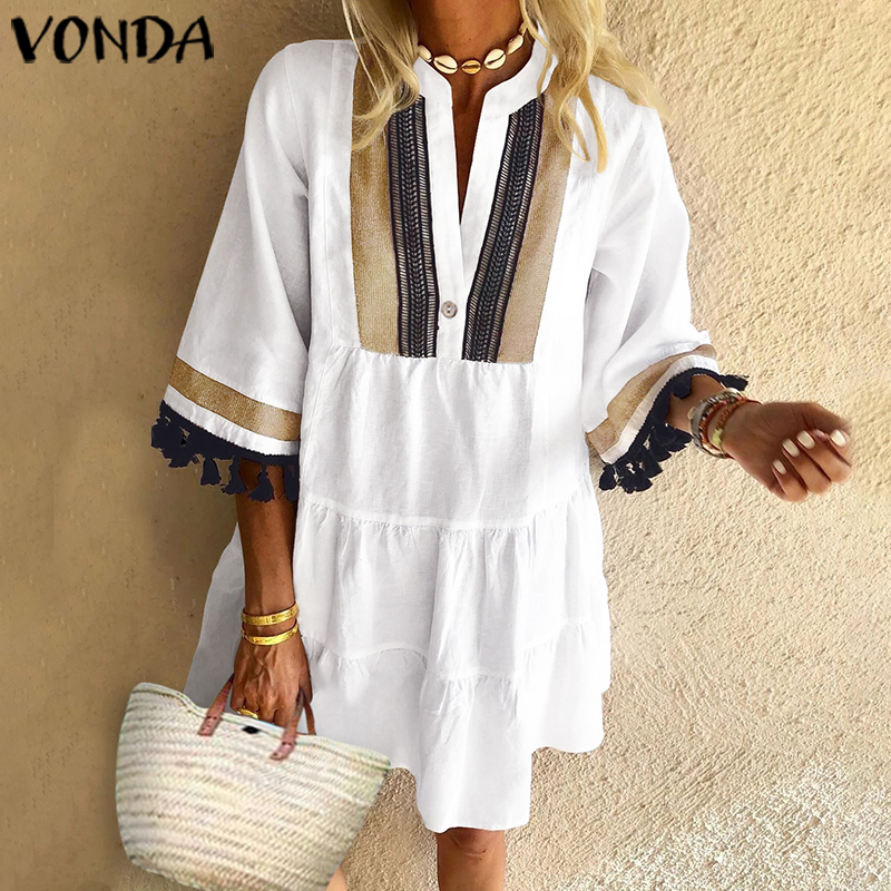 VONDA Summer Beach Dress Women Vintage Print Sundress Half Sleeve V Neck Party Dress 2020 Bohemian Vestido Casual Robe Plus Size