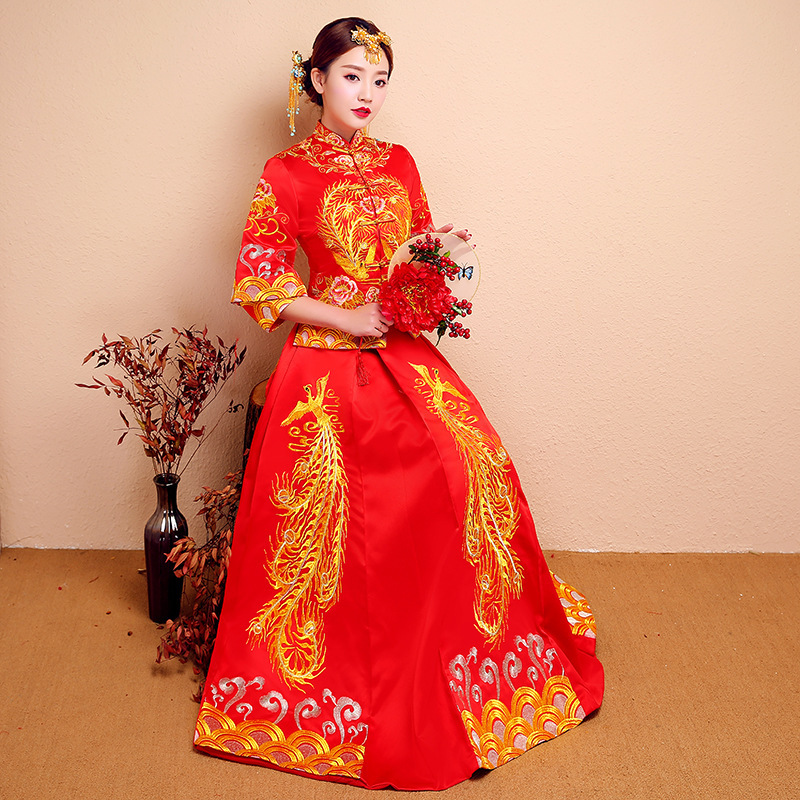Serving 2020 New Bride Wedding Clothes Kimono Dress Longfeng Existing Ancient Chinese Style Wedding Dress Show A Toast