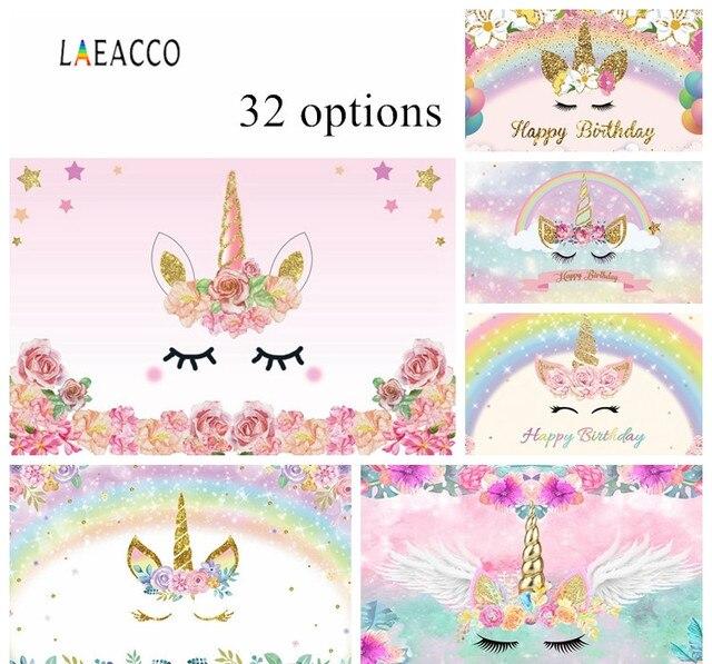 Laeacco unicórnio backdrops para festa de aniversário céu rosa flores estrelas arco íris chá de fraldas fotografia fundos para estúdio de fotos