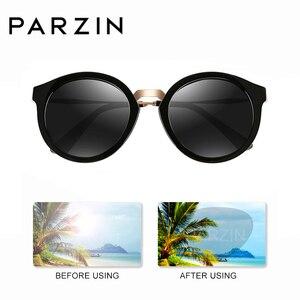 Image 4 - PARZIN lunettes de soleil rondes pour femmes, marque de luxe rétro, verres de soleil polarisés de haute qualité pour la conduite
