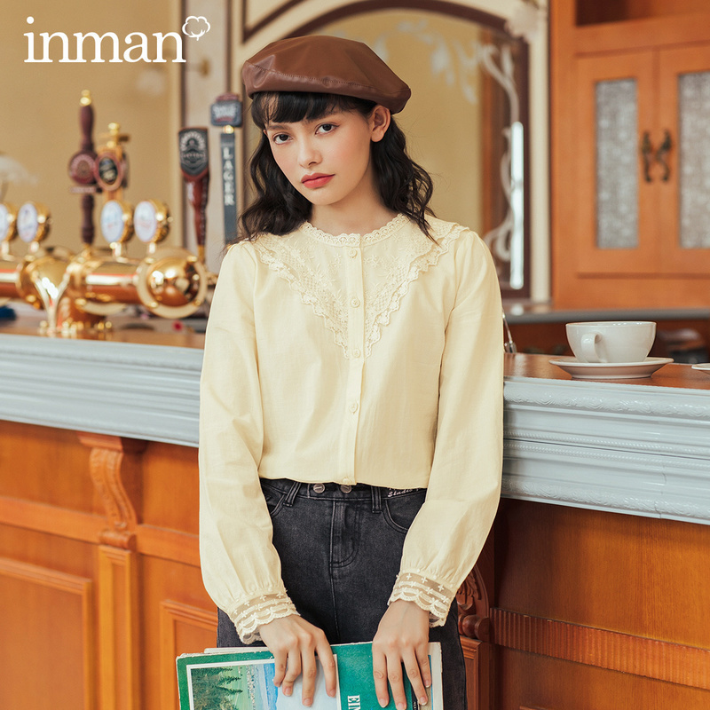 INMAN 2020 Autumn Winter New Arrival Women Blouse French Style Lace Fringe Round Collar Ladies Blouses