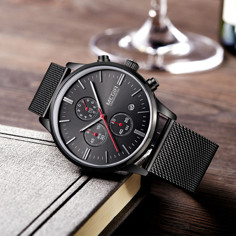MEGIR Fashion Luxury Brand Watches Men Stainless Steel Quartz Sport Watches Chronograph Watch Clock Relogio Masculino For Male