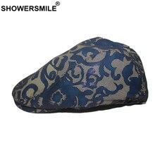 SHOWERSMILE British Style Flat Cap Women Blue Real Sheepskin Leather Female Flower Retro Beret Autumn Winter Duckbill Hat