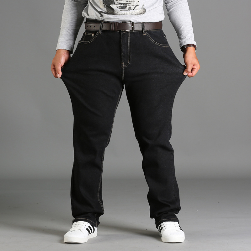 Hy1280 Jeans Men's Large Size Loose-Fit Plus-sized Elasticity Men Fat Men's Trousers Lard-bucket Trousers 28-46