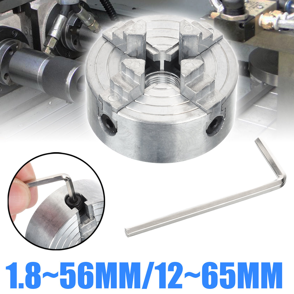 1Pcs Z011A Mini Collet Metal 4-Jaw Lathe Chuck Clamps 1.8~56mm/12~65mm M12 Thread For Drilling Milling Machine