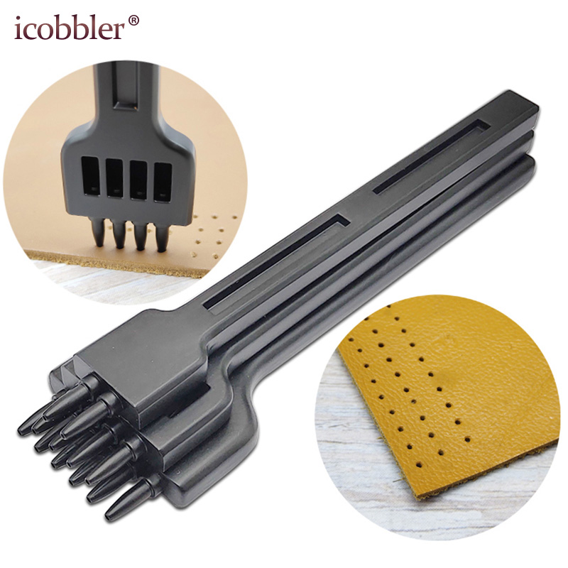 Round Hole Punch Row Prong Stitching Cutter Tool Make Hand Sewing Hole Leather Craft Tools Spacing Cutting, 4mm 2/4/6 Holes