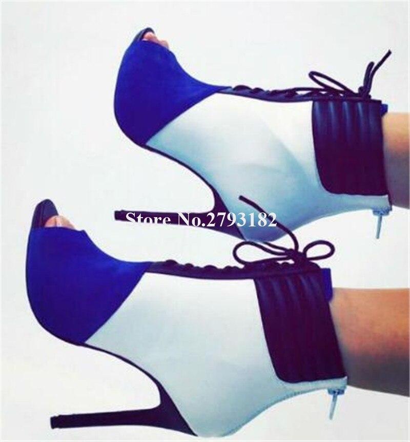 Newest Design Women Peep Toe Blue Patchwork Stiletto Heel Short Gladiator Boots Lace-up High Heel Ankle Booties Dress Heels