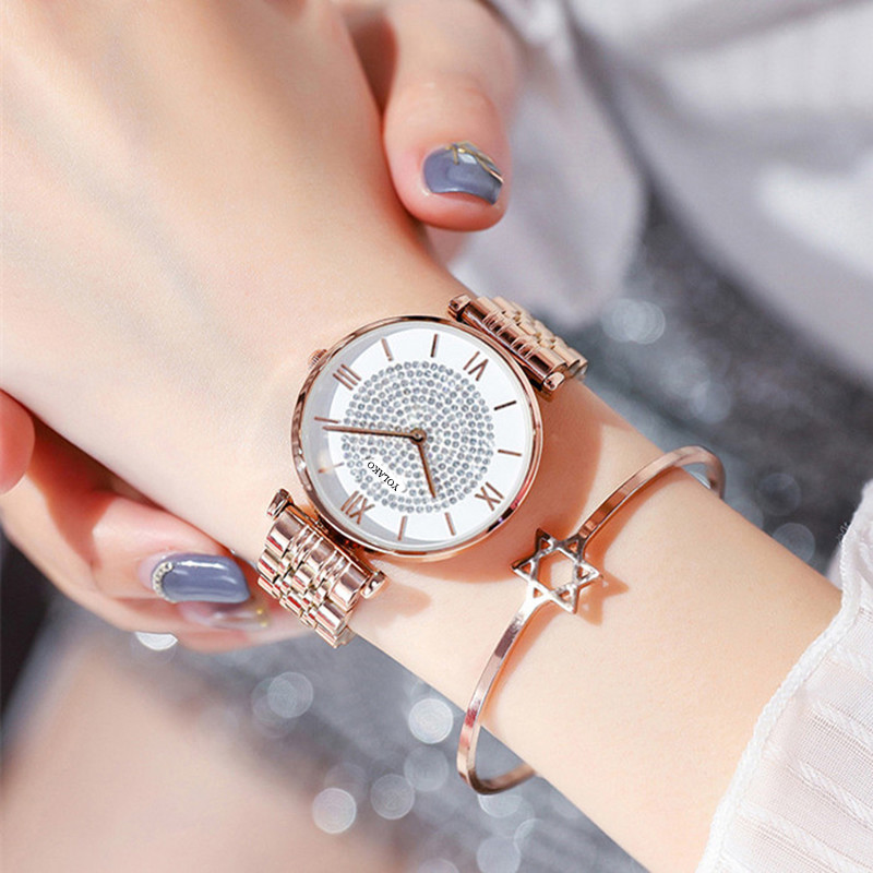 Women watch Simple wild stainless steel buckle luxury fashion rhinestone ladies geometric roman numeral quartz movement watch in Women 39 s Watches from Watches