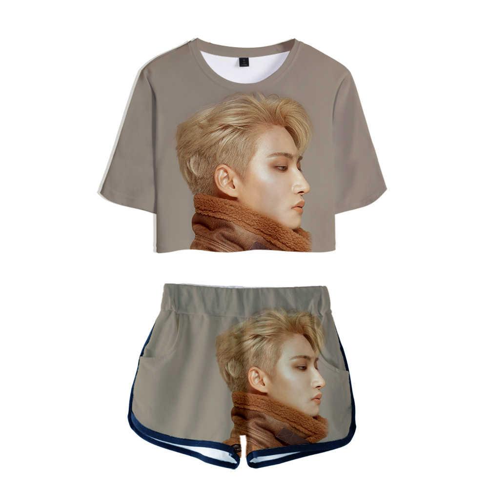 2020 Vrouwen Tweedelige Set Nieuwe Koreaanse Fashion Kpop Kleding Ateez Een Tiener Trainingspak Vrouwen Top En Shorts Outfits Set meisje Fans