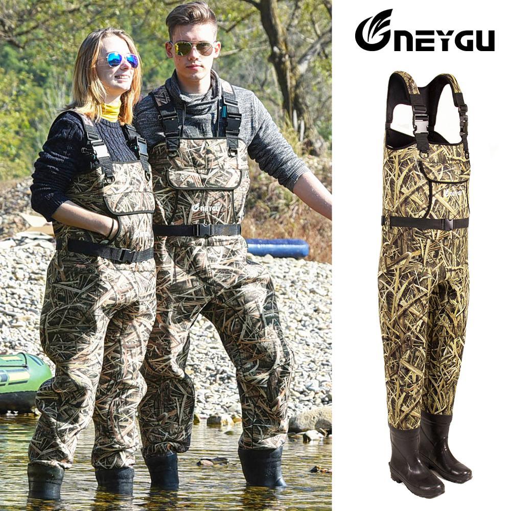 Neygu 5mm néoprène pêche poitrine wader attaché bottes en caoutchouc isolé néoprène thermique promesse vous pêche sur glace au chaud dans l'eau