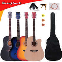 41 inch Basswood Beginner Guitar Entry 6 String Ballad Wood Guitar Ukulele Acoustic Guitar With Wooden/Black/Blue/Sunset AGT123