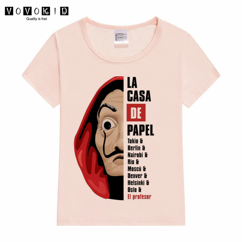 Little Girl Boy La Casa De Papel Print T-shirt Kid Children Managa Funny T Shirts Toddler Girl Pink Grey White Tops