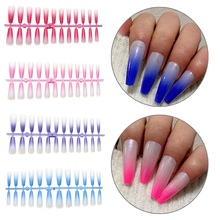 24PC Hot Long Gradient Coffin False Nails Detachable Ballerina Wearabl