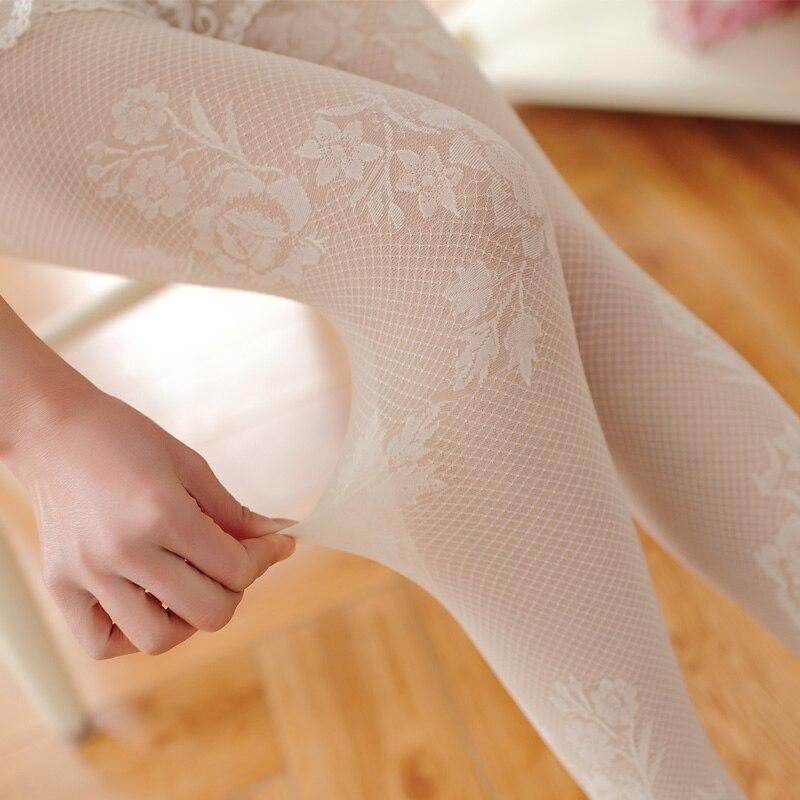 AIGYPTOS Autumn And Winter Ladies Retro Sexy Lace Japanese Style Women's Rose Jacquard White Leggings