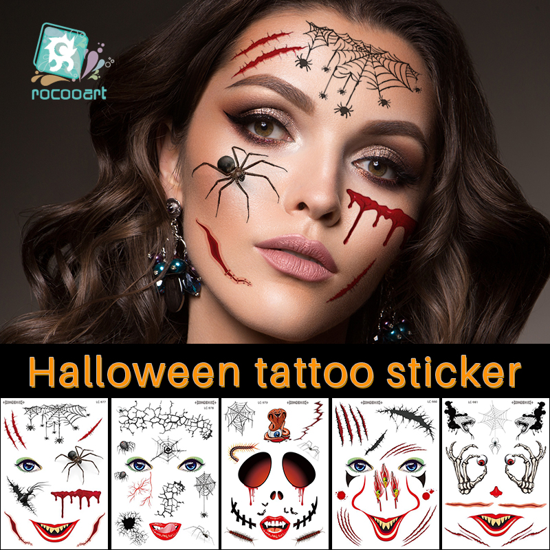 Rocooart New Halloween Holiday Face Makeup And Terror Spider And Scar Mask Design Fake Temporary Waterproof Tattoo Sticker