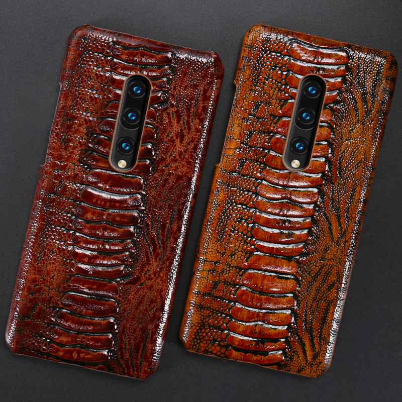 Genuine Leather Case For Oneplus 8 Pro Cases Cowhide Ostrich Foot case For oneplus 7Pro 6 6T <font><b>5</b></font> 5T <font><b>3</b></font> 3T Shockproof Phone cover image