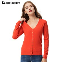 GLO-STORY 2017 Cardigan Sweater Womens Autumn and winter Long Sleeve V-neck Solid knit Sweaters Tops Sueteres WMY-2604-1