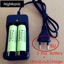 2 pcs  18650 battery   + 1 PCS 2 slot EU/US  Charger  NCR18650B 3.7 v  MH13400 Lithium Rechargeable Battery