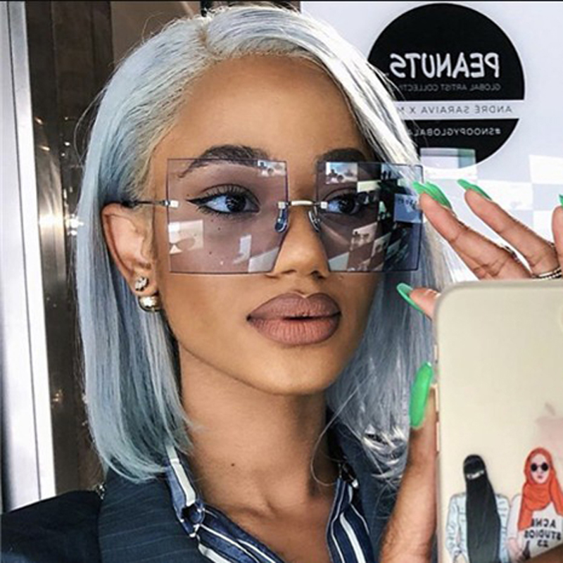 MIZHO 2020 Fashion Big Rimless Sunglasses Women Vintage Trendy Luxury Brand Designer Ladies Sunglass Oversized Tinted Eyewear