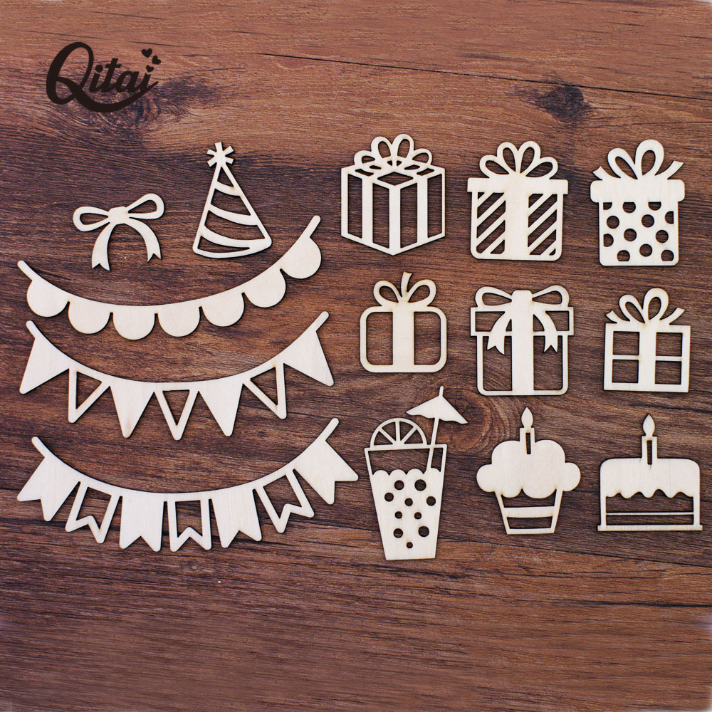 QITAI 39PCS/box Wooden Embellishment Accessories For Paper Craft Card Making Project Life Journal Decoration  WF317