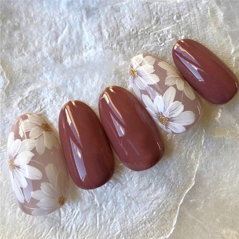 24Pcs/box wholesales Fake Nails Press On for women Bride White Flower designs Artificial Nail tips full cover acryl False Nails(China)