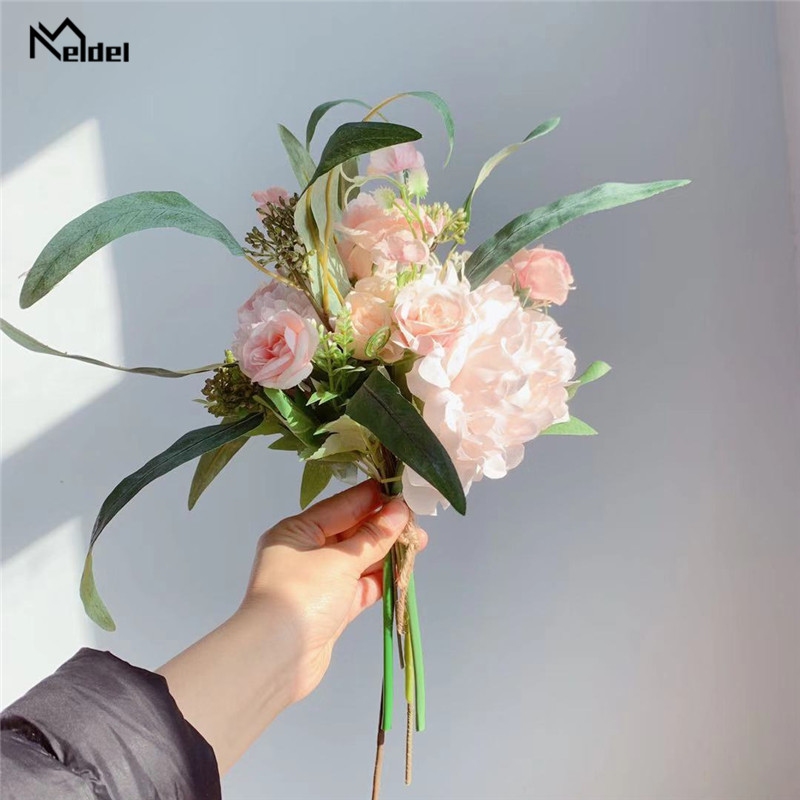 Meldel Wedding Bouquet Artificial Flower Silk Rose Peony Hydrangea Bouquet Forest Style Long Leaves Wedding Home Party Decor