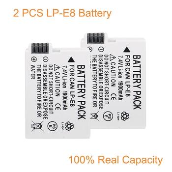 2 Pcs/Lot LP E8 LP E8 LPE8 Batterie pour Appareil Photo Canon EOS 550D 600D 650D 700D Baiser X4 X5 X6i X7i Rebelles T2i T3i T4i T5i|Batteries numériques| |  -