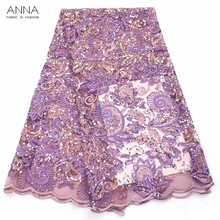 Latest nigerian purple lace fabric 2019 high quality lace pink with sequins 5 yards/pieces tulle african laces fabrics for dress beautifical lace african fabrics african tulle laces designer lace fabric white lace fabric high quality 5 yards lot ml4n705