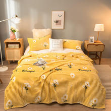 Blankets-Throw Sunflower Soft Yellow-Color Sofa for Warm Flannel on The-Bed Small