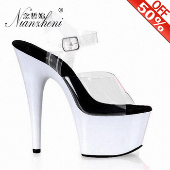 17cm Women Summer Platform Stiletto Sandals White Party Female Dress Wedding Crystal Shoes 7 Inch Sexy Pole Dance High Heels