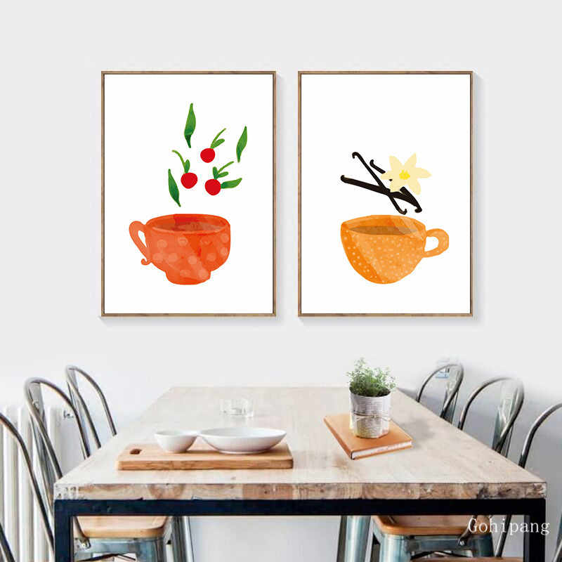 Watercolor Tea Cup Art Canvas Painting Prints Kitchenware Wall Art Posters Pictures For Dining Hall Kitchen Home Decoration
