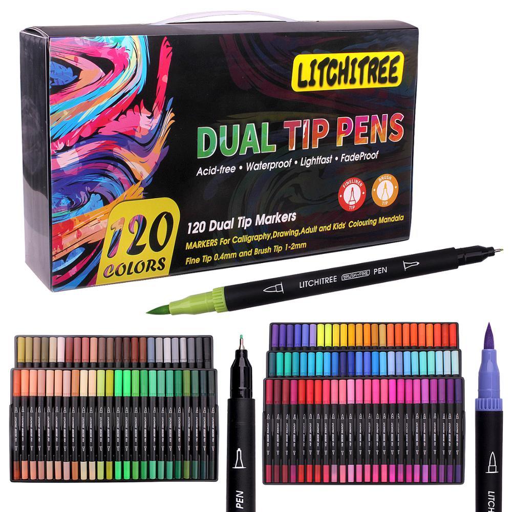 Набор художественных маркеров для раскрашивания, 80/120 цветов, двойные кончики, маркер на водной основе, ручки с холщовой сумкой, для детей и в...