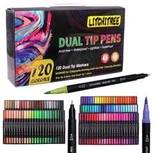 Ensemble de marqueurs artistiques colorés, 80/120 stylos Fineliner à base d'eau à double pointe Fine avec sac en toile pour enfants et adultes