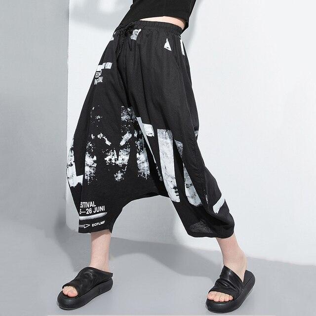 Eam Pantalones Bombachos Estampados Para Mujer Pantalon Holgado Con Cintura Alta Elastica Diseno Blanco A La Moda Para Primavera Y Verano 2021 1t885 Streamdrinks Se