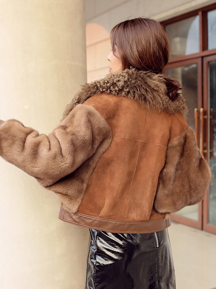 Women Coat Winter Double Faced Fur Coat Female Luxury Natural Wool Fur Coat Women Mink Fur Sleeve Real Leather Jacket MY