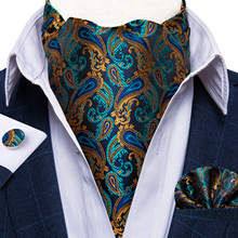 Men Scrunch Self British Style Ascot Neck Tie Vintage Gold Navy Paisley Jacquard Woven Necktie Cravat Pocket Square Set DiBanGu