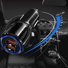 OlAF Dual USB Car Charger Quick Charge 3 0 Mobile Phone Charger for iPhone Samsung Xiaomi Tablet Car-Charger Fast Car Charger cheap ROHS quick charge 3 0 car charger 9V 1 67A QC 3 0 usb Car Charger Black White Fast charge Car Charger Car USB Charger 2 Port USB Fast Car Charger