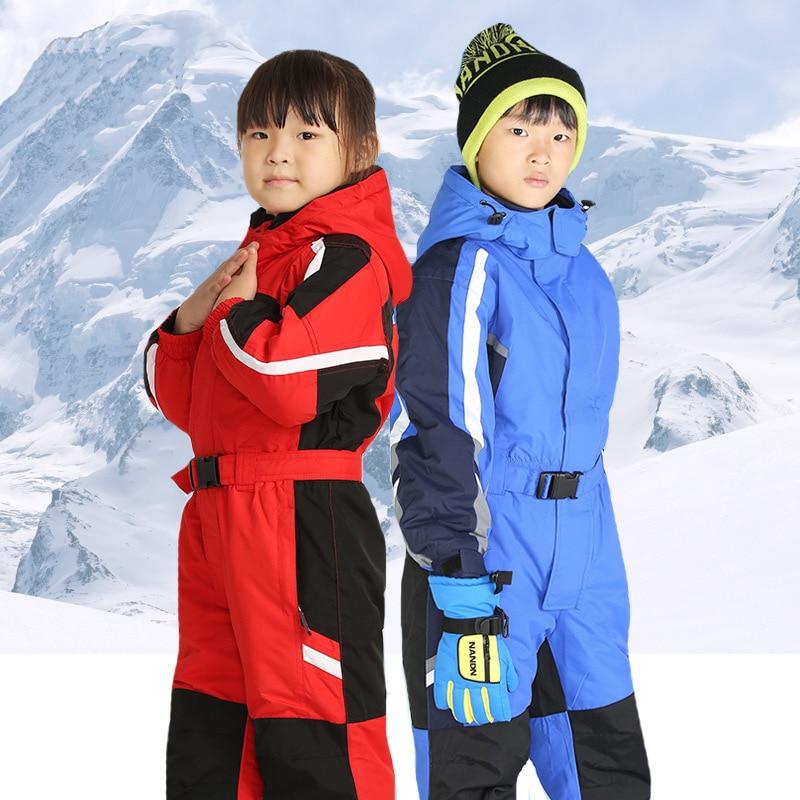 2019 Winter Boys Skiing Suits Fleece Hooded Warm Kids Snow Jumpsuits Windproof Snowboard Sport Children 's Rompers Onesies