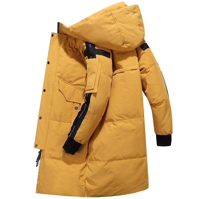 80% de pato branco para baixo jaqueta de neve com capuz para baixo parkas 30 graus rússia inverno para baixo jaqueta masculina moda grossa longo casaco - 6