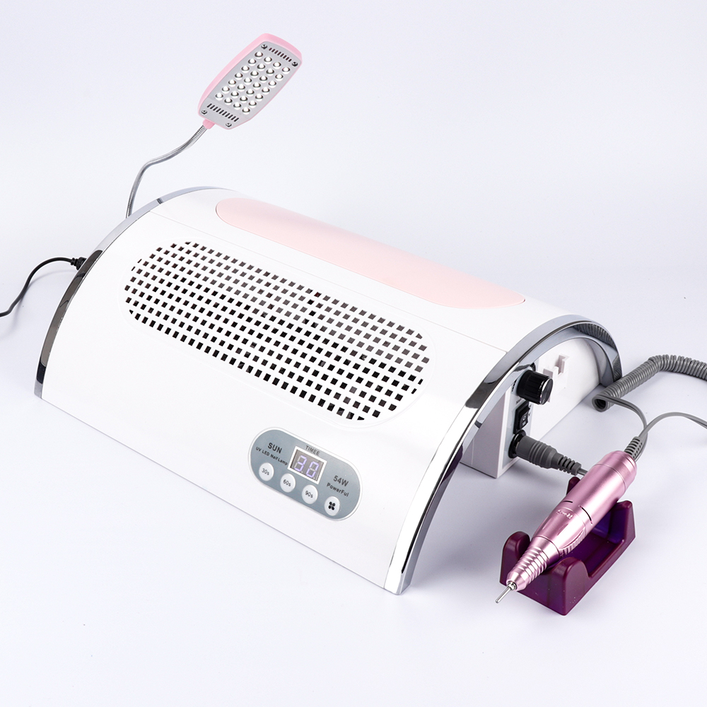 Image 2 - 54W Nail LED UV Lamp Vacuum Cleaner Suction Dust Collector 25000RPM Drill Machine Pedicure Remover Polisher Nail Tools-in Nail Art Equipment from Beauty & Health