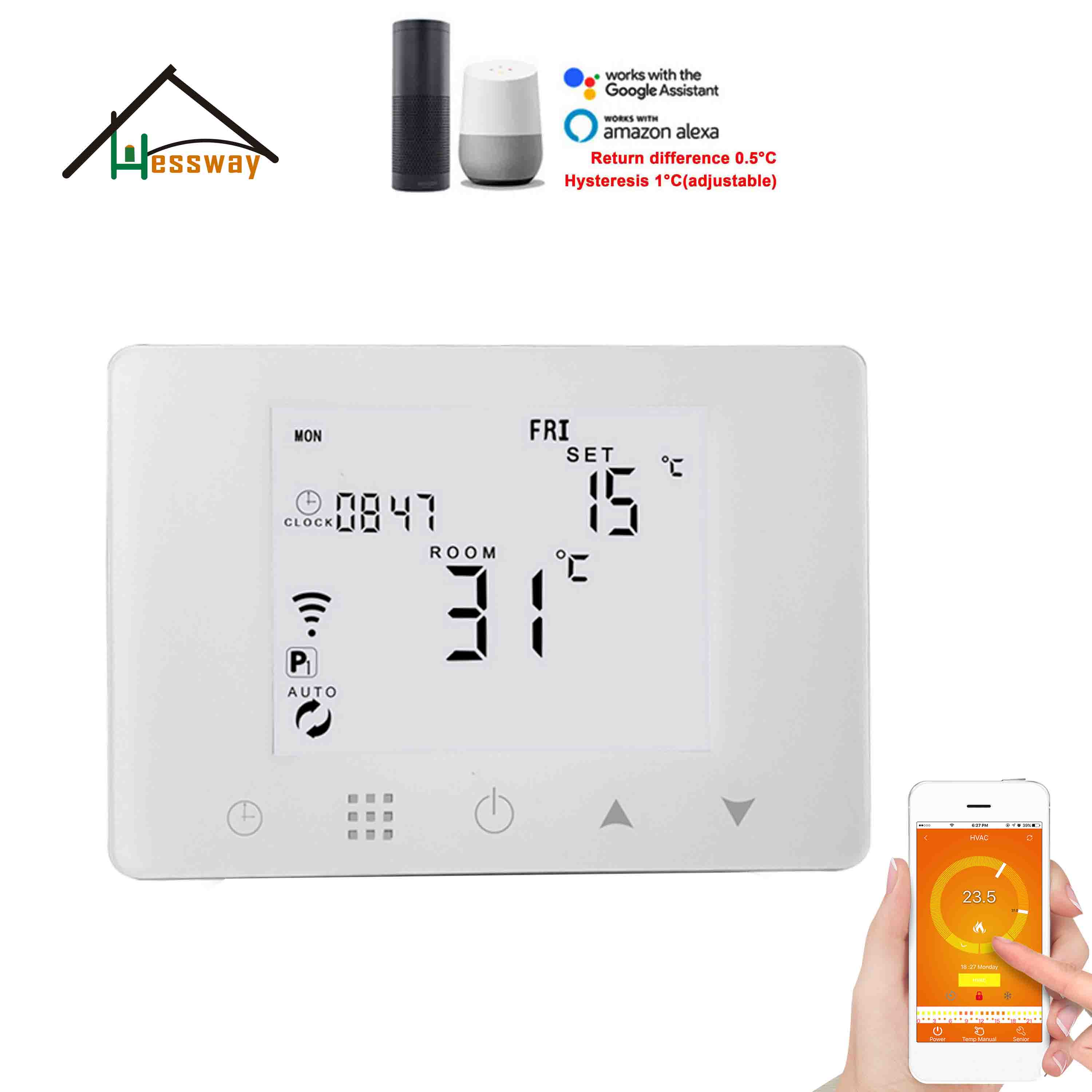433mhz Digital Wireless Wifi Thermostat Room Temperature For Boilier Infrared Heating And Hot Water