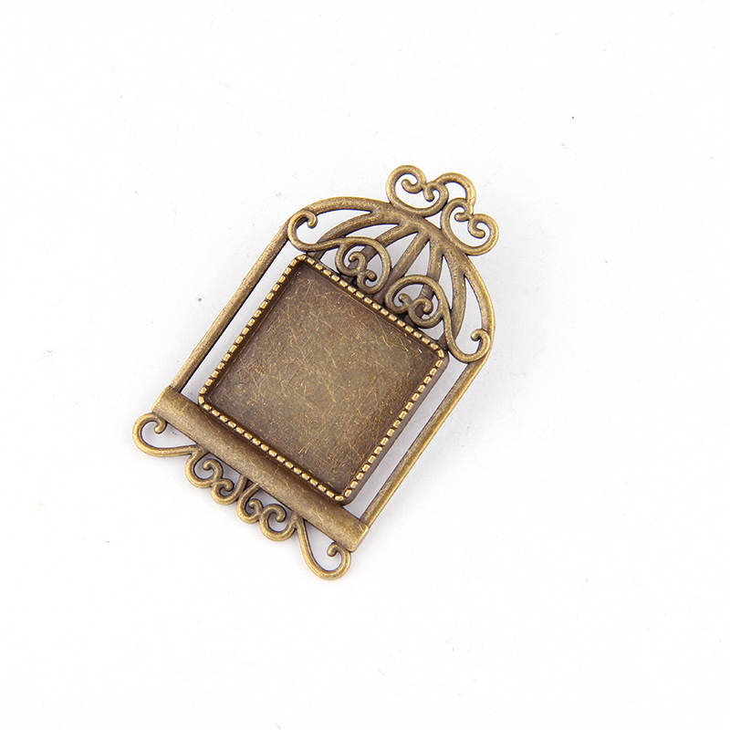 Love Heart Look Cameo Base Tray Vintage Bronze Style Charms Pendant Jewelry  5pc